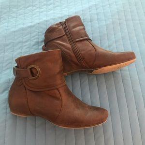 Brown flat booties